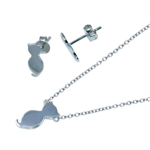 Wholesale Sterling Silver 925 Rhodium Plated Cat Set - STS00544