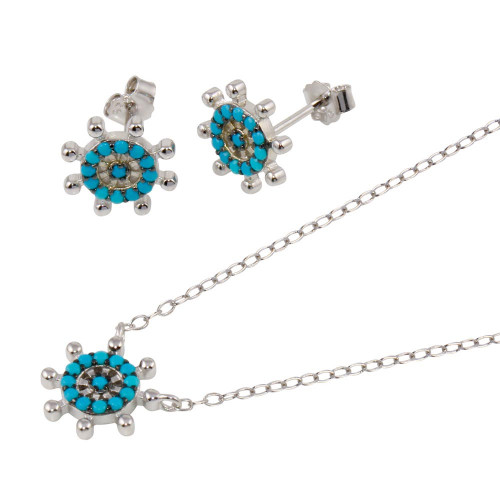 Wholesale Sterling Silver 925 Rhodium Plated Turquoise Galver Sets - STS00545