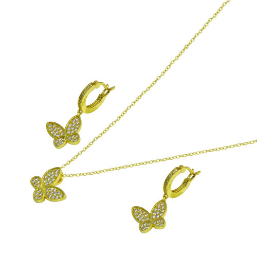 Wholesale Sterling Silver 925 Rhodium Plated Butterfly CZ Sets - STS00546