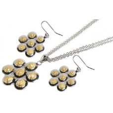 **Closeout** Wholesale Sterling Silver 925 Two-Toned Flower Necklace and Earrings Set - STS00067