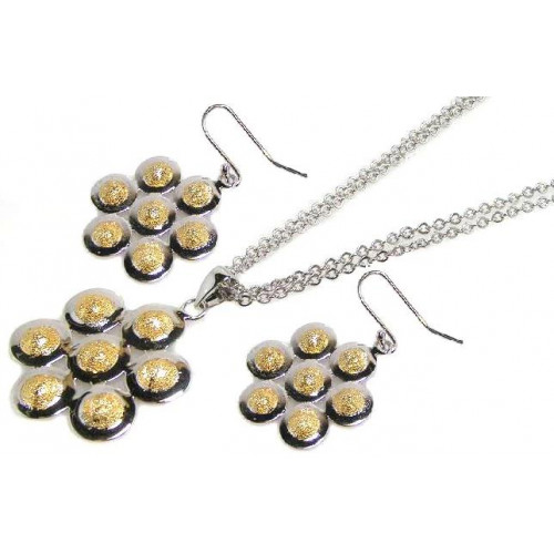 -Closeout- Wholesale Sterling Silver 925 Two-Toned Flower Necklace and Earrings Set - STS00067
