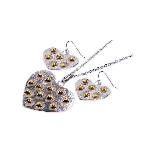 -Closeout- Wholesale Sterling Silver 925 Rhodium Plated Large Heart Pendant and Small Heart Earrings Set with Heart Charms - STS00075