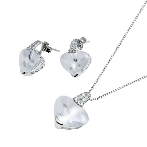 -Closeout- Wholesale Sterling Silver 925 Rhodium Plated Heart Clear CZ Set - STS00270-CLR
