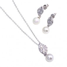 Wholesale Sterling Silver 925 Rhodium Plated Leaf CZ Hanging Dangling Pearl Stud Earring and Necklace Set - STS00478