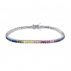 Wholesale Sterling Silver 925 Rhodium Plated Rainbow Square CZ Tennis Bracelet - TMB00001