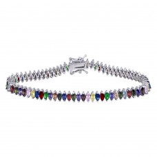 Wholesale Sterling Silver 925 Rhodium Plated Rainbow Marquise CZ Tennis Bracelet - TMB00002