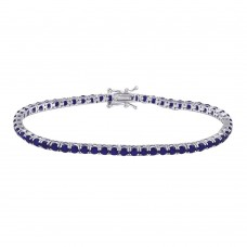 Wholesale Sterling Silver 925 Rhodium Plated Round CZ Blue Tennis Bracelet - TMB00003-BLUE
