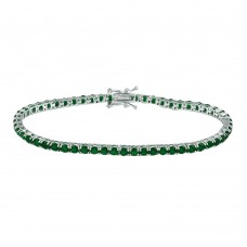 Wholesale Sterling Silver 925 Rhodium Plated Round CZ Green Tennis Bracelet - TMB00003-GREEN