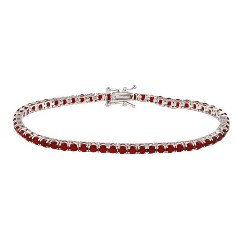 Wholesale Sterling Silver 925 Rhodium Plated Round CZ Red Tennis Bracelet - TMB00003-RED