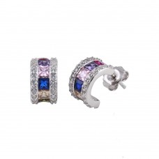Wholesale Sterling Silver 925 Rhodium Plated Multi-Colored CZ Stone Semi Hoop Earrings - TME00001