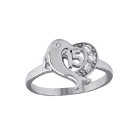 Wholesale Sterling Silver 925 Rhodium Plated Crown 15 Heart Dolphin Ring with CZ - TMR00007