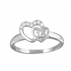 Wholesale Sterling Silver 925 Rhodium Plated Heart 15 Ring with CZ - TMR00001