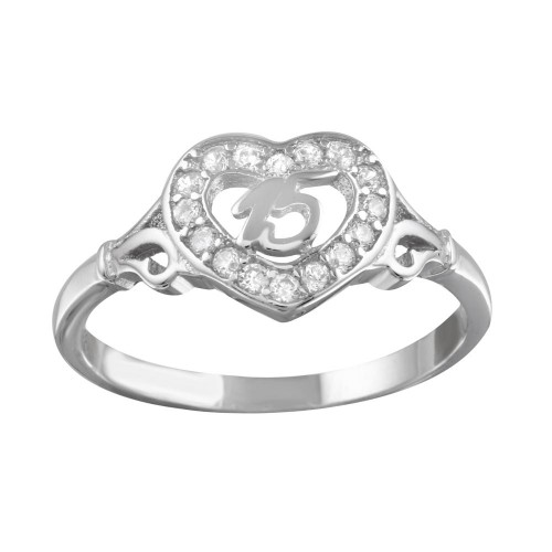 Wholesale Sterling Silver 925 Rhodium Plated Heart 15 Ring with CZ - TMR00002