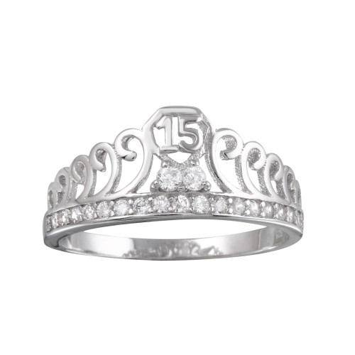 Wholesale Sterling Silver 925 Rhodium Plated Crown 15 Ring with CZ - TMR00003