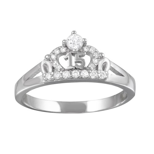 Wholesale Sterling Silver 925 Rhodium Plated Crown 15 Ring with CZ - TMR00004