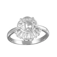 Wholesale Sterling Silver 925 Rhodium Plated 15 Ring with CZ - TMR00005