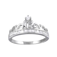 Wholesale Sterling Silver 925 Rhodium Plated Crown 15 Ring with CZ - TMR00006