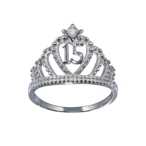 Wholesale Sterling Silver 925 Rhodium Plated Crown 15 Ring with CZ - TMR00008