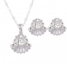 Wholesale Sterling Silver 925 Rhodium Plated 15 Necklace and Earrings Set - TMS00001