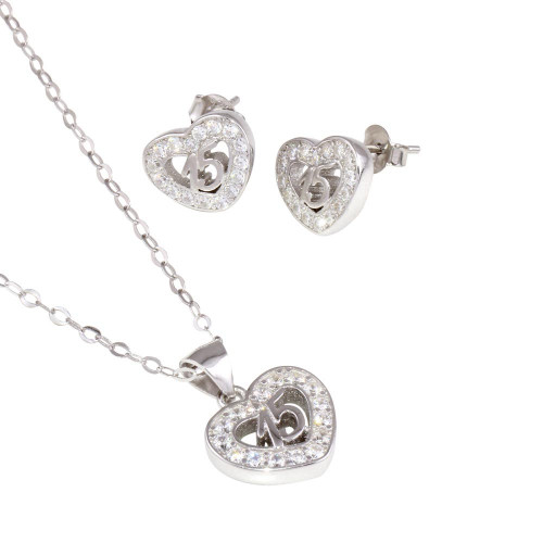 Wholesale Sterling Silver 925 Rhodium Plated Heart 15 Necklace and Earrings Set - TMS00002