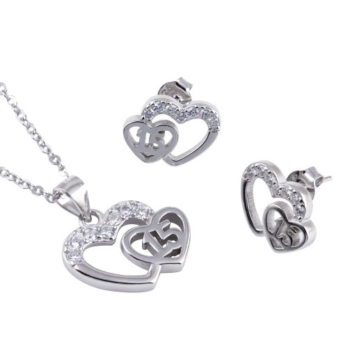 Wholesale Sterling Silver 925 Rhodium Plated Double Heart 15 Necklace and Earrings Set - TMS00003
