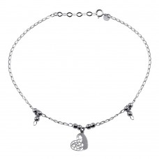Wholesale Sterling Silver 925 Rhodium Plated Heart and Beads Anklet - TRA00001