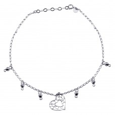 Wholesale Sterling Silver 925 Rhodium Plated Heart Charm Anklet - TRA00002