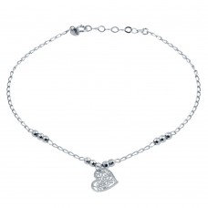 Wholesale Sterling Silver 925 Rhodium Plated Beaded Anklet with Flat Heart Charm - TRA00004