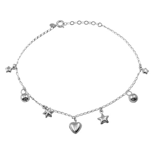 Wholesale Sterling Silver 925 Rhodium Plated Heart, Star, and Round Charms Anklet - TRA00003