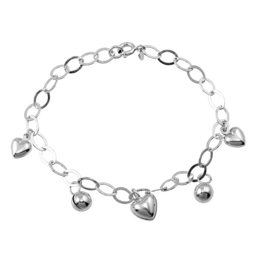 Wholesale Sterling Silver 925 Rhodium Plated Heart and Bead Charm Bracelet - TRB00001
