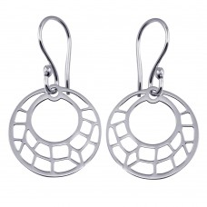 Wholesale Sterling Silver 925 Dangling Flat Round Design Earrings - TRE00002