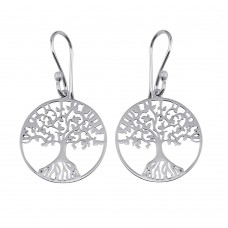 Wholesale Sterling Silver 925 Rhodium Plated Dangling Flat Round Family Tree Earrings - TRE00003