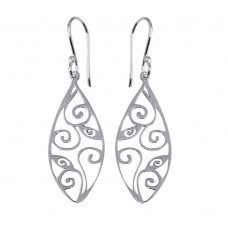 Wholesale Sterling Silver 925 Flat Teardrop Design Earrings - TRE00004