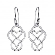 Wholesale Sterling Silver 925 Rhodium Plated Dangling Flat Heart and Infinity Design Earrings - TRE00005