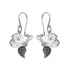 Wholesale Sterling Silver 925 Rhodium Plated Dangling Flat Bee Earrings - TRE00006