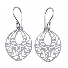 Wholesale Sterling Silver 925 Flat Dangling Oval Earrings with Designs - TRE00007