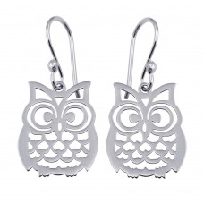 Wholesale Sterling Silver 925 Rhodium Plated Dangling Flat Owl Earrings - TRE00008