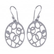 Wholesale Sterling Silver 925 Rhodium Plated Dangling Flat Oval Earrings with Circle Designs - TRE00009