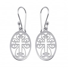 Wholesale Sterling Silver 925 Flat Dangling Oval Earrings with Cross Design - TRE00010
