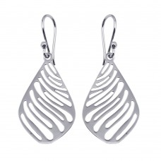 Wholesale Sterling Silver 925 Rhodium Plated Flat Striped Teardrop Earrings - TRE00011