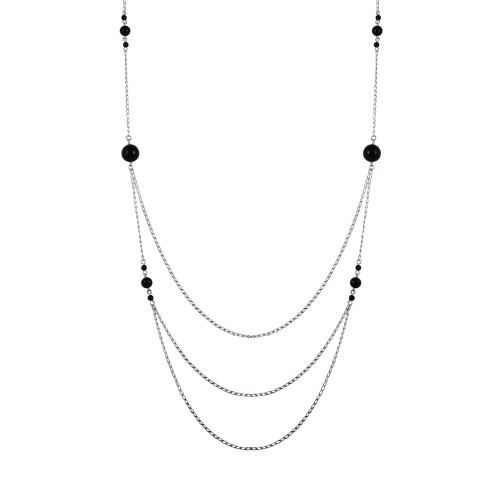Wholesale Sterling Silver 925 Rhodium Plated Silver Multi-Layered Chain Necklace with Beads - TRN00001