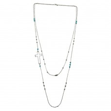 Wholesale Sterling Silver 925 Rhodium Plated Cross Chain Necklace with Turquoise Beads - TRN00002
