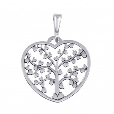 Wholesale Sterling Silver 925 Flat Heart-Shaped Heart Tree Pendant - TRP00001
