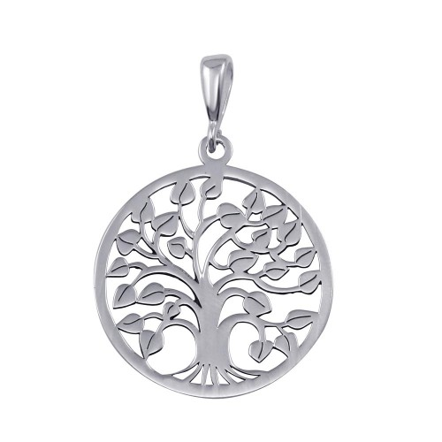 Wholesale Sterling Silver 925 Rhodium Plated Round Tree of Life Pendant - TRP00002