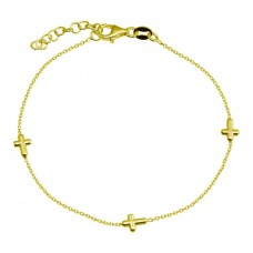 Wholesale 925 Sterling Silver Adjustable Single Strand Gold Plated Bracelet with 3 Cross - VGB17GP