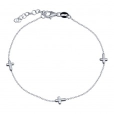 Wholesale 925 Sterling Silver Adjustable Single Strand Rhodium Plated Bracelet with 3 Cross - VGB17RH