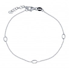 Wholesale 925 Sterling Silver Adjustable Single Strand Rhodium Plated Bracelet with 3 Oval Element - VGB18RH