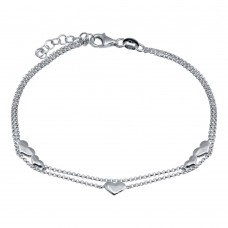 Wholesale 925 Sterling Silver Adjustable Double Strand Multi Heart Rhodium Plated Bracelet - VGB19RH