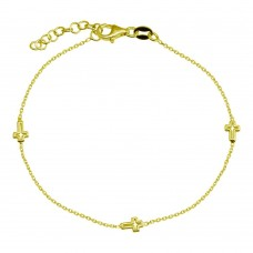 Wholesale 925 Sterling Silver Adjustable Single Strand Gold Plated Bracelet with 3 Cross - VGB21GP