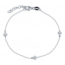 Wholesale 925 Sterling Silver Adjustable Single Strand Rhodium Plated Bracelet with 3 Cross - VGB21RH